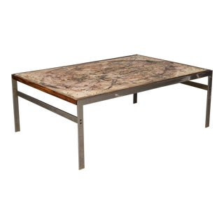 Hand-Painted Tile Coffee Table with Rosewood and Chrome Frame For Sale