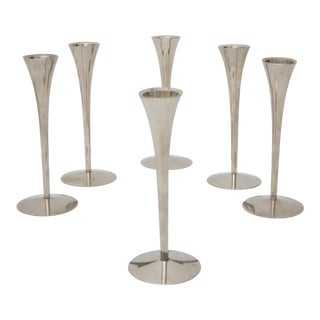 Mid-Century Modern Nickel Plated Candle Holders - Set of 6 For Sale