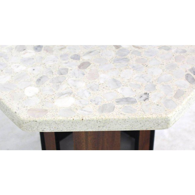 White Oiled Walnut Base Terrazzo Top Side Table For Sale - Image 8 of 10