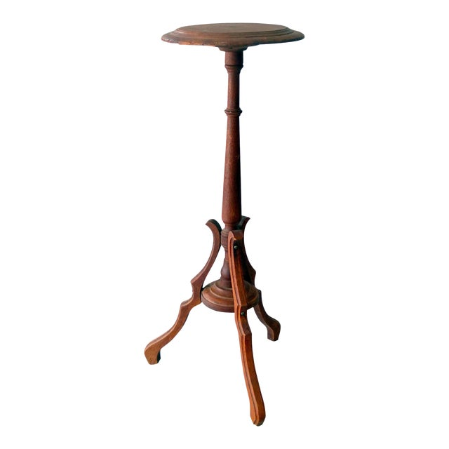 Vintage Sarreid Ltd Tri-Leg Oak Table Stand - Image 1 of 2