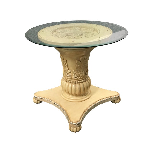 Classical Medallion Pedestal Side Table - Image 1 of 9