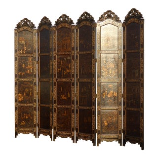 Tall Vintage Maitland Smith Six Panel Asian Oriental Gold & Brown Screen Room Divider For Sale