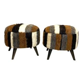 Stunning Pair of Vintage Alpaca Fur Ottomans Foot Stools For Sale