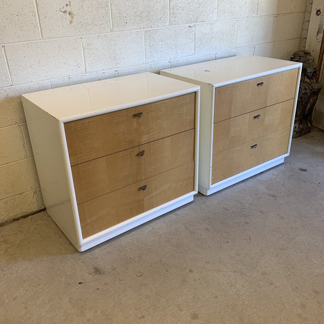 Contemporary White Lacquer & Burl Wood Chests - a Pair For Sale - Image 9 of 13
