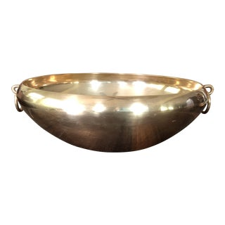 "1970s Vintage Solid Brass 10"" Bowl For Sale"