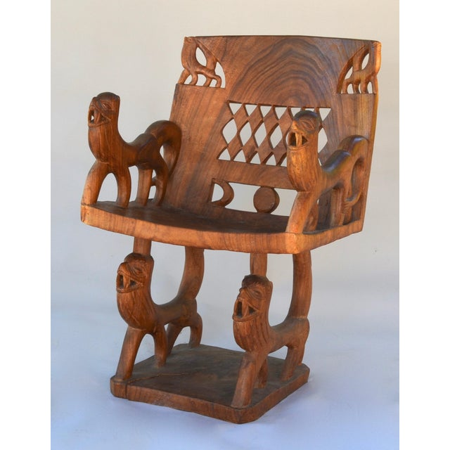 African African Benin Tribal Wood Chair For Sale - Image 3 of 10