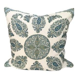 Peter Dunham Samarkand Blue and Green Outdoor Fabric Pillow For Sale