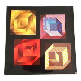 Vintage Mid Century Abstract Op Art Heliogravure-Victor Vasarely For Sale