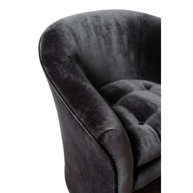 Mid 20th Century Mid-Century Modern Black Velvet Tub Barrel Chairs - a Pair For Sale - Image 5 of 9