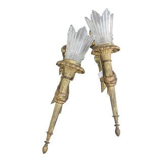 19th Century Gilt/ Dore Heavy Louis XV Bronze Sconces with Authentic Baccarat Flame Crystal Shades - a Pair For Sale