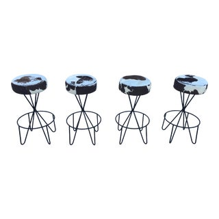1950s Vintage Paul Tuttle Iron Bar Stools - Set of 4 For Sale