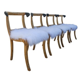 Amazing Vintage Ram's Head Klismos Chairs With Mongolian Fur Seats- Set of 4 For Sale