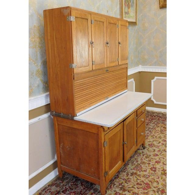 Tan Antique Oak Sellers Indiana Hoosier Cabinet C1900 For Sale - Image 8 of 11