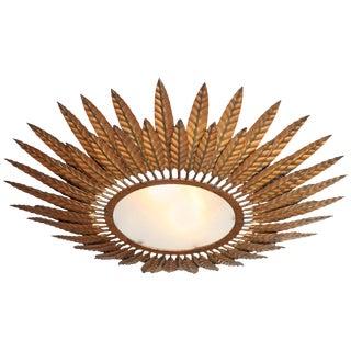 French Bronze Starburst Flush Mount Light Fixture For Sale