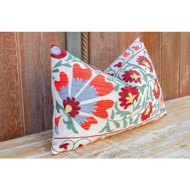 Late 20th Century Paoli Coral Floral Suzani Pillow For Sale - Image 5 of 10