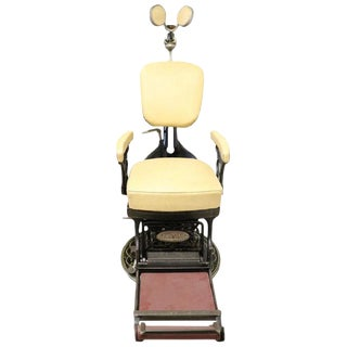 Vintage Dentist Chair in Decorative Iron and Leather by Harvard, 1910s For Sale