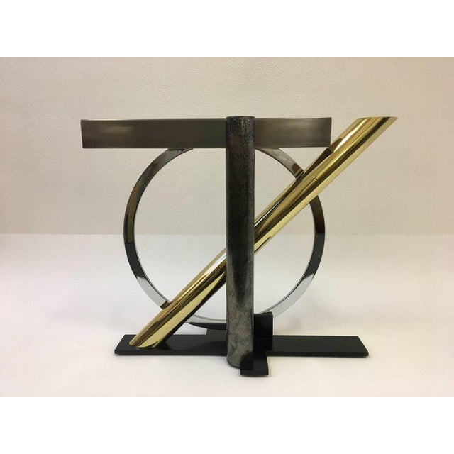 DIA - Design Institute America Mixed Metals and Glass Console Table by Kaizo Oto for DIA For Sale - Image 4 of 9