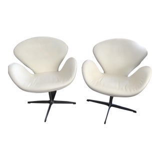 Vintage Mid Century Arne Jacobsen Style Italian White Leather Swan Chairs- a Pair For Sale