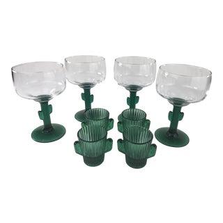 1980s Vintage Cactus Stem Margarita Glasses & Cactus Shot Glasses- Set of 8 For Sale