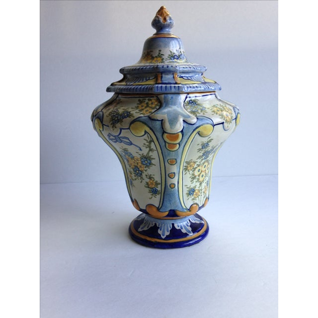 Hand-Painted Floral Italian Lidded Urn - Image 2 of 8