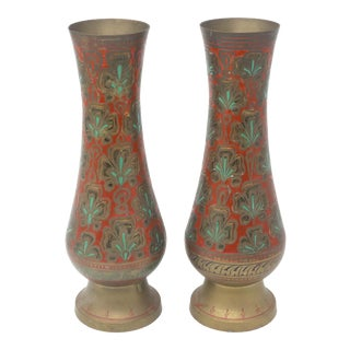 Vintage Red and Turquoise Enameled Brass Vases - a Pair For Sale
