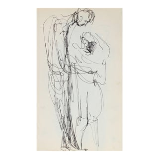Minimal Pair of Figures Ink 1950-60s For Sale