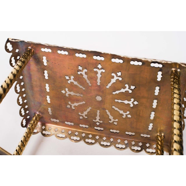 19th Century Antique Brass Fireplace Rectangular Kettle Trivet W/ Crossbars, Bell Shaped Feet, Pierced Top & Sides For Sale In Seattle - Image 6 of 10