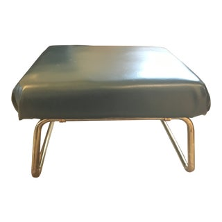 1950s Vintage Green and Brass Adjustable Foot Stool For Sale