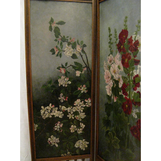 Painted Floral 3-Panel Victorian Screen - Image 3 of 6