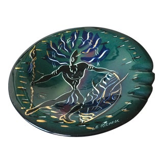 "Mid-Century Modern Marc Bellaire by Harper Pottery Tribal Warrior Ashtray Signed ""Le Richeux"" For Sale"