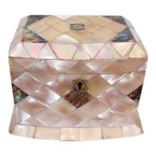 Late 18th Century Antique Mother of Pearl Tea Caddy For Sale