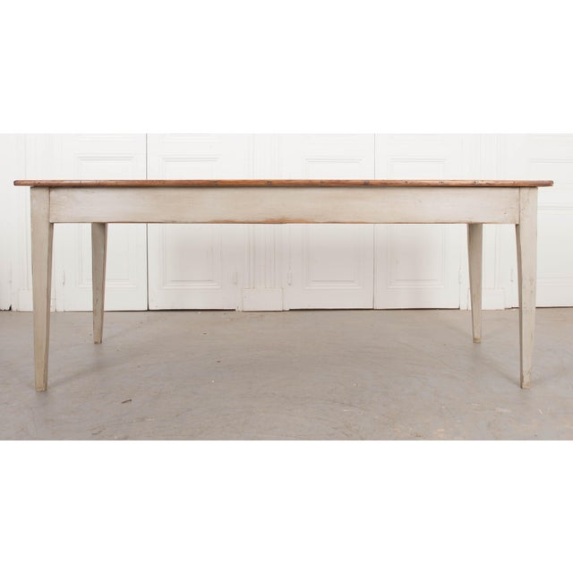 19th Century English Painted Pine Farm Table For Sale - Image 9 of 10