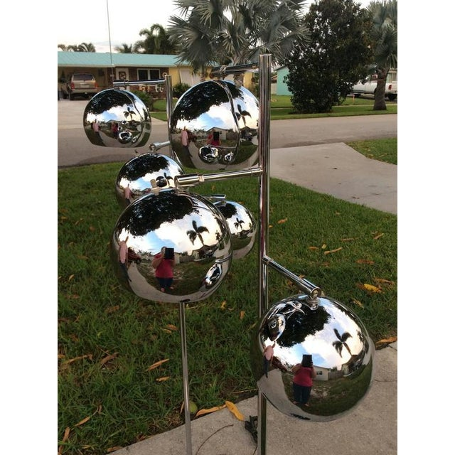 Chrome Koch & Lowy Chrome Ball Floor Lamps - A Pair For Sale - Image 7 of 11