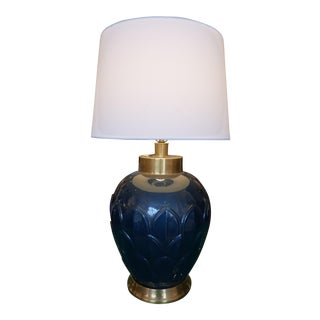 Fredrick Cooper Navy Glazed Table Lamp With Brass Accents