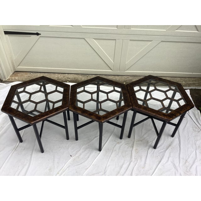 Mid-Century Modern Widdicomb Honeycomb Tables, Set of 3 For Sale - Image 3 of 13