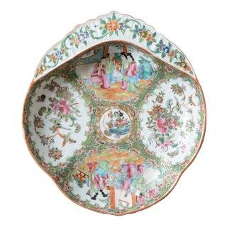 19th Century Rose Medallion Shrimp Dish For Sale