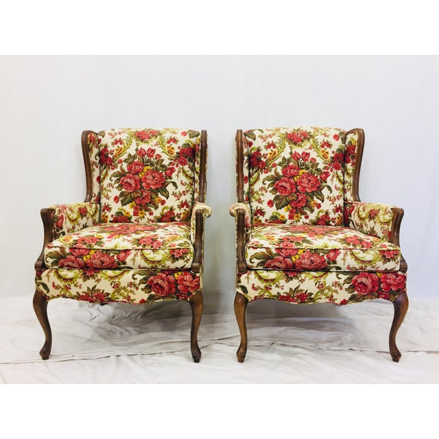 Boho Chic Vintage Floral Chintz Armchairs - A Pair For Sale - Image 3 of 11