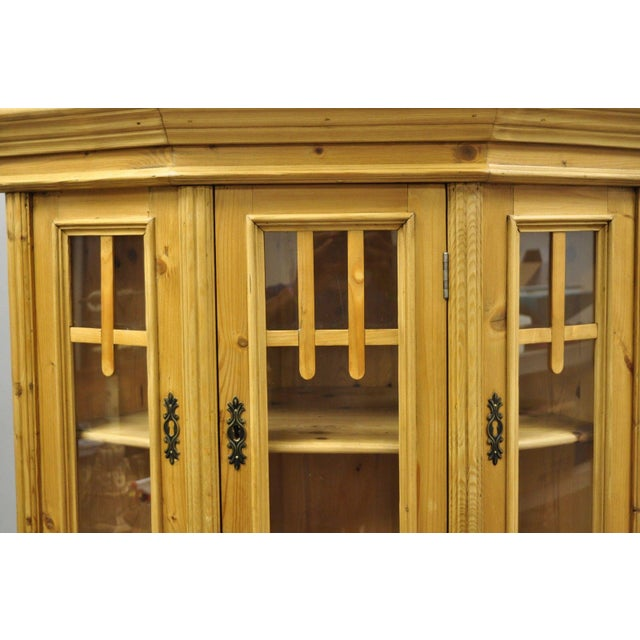 Pine China Cabinet Hutch: Country French Gothic Primitive Pine Corner China Cabinet