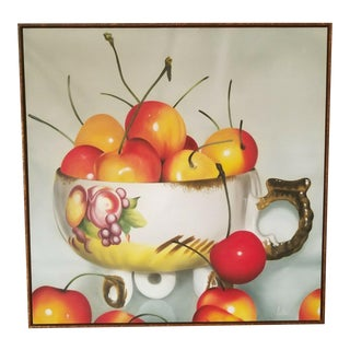 Michel Pellus Super Realism Still Life Painting of Cherries For Sale
