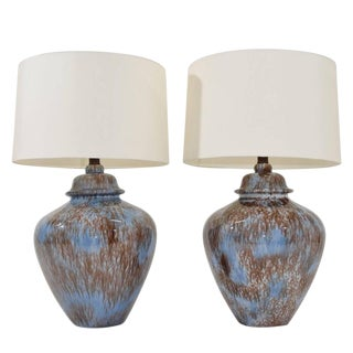 Early 20th Century Blue & Brown Drip Glaze Ceramic Lamps - A Pair For Sale