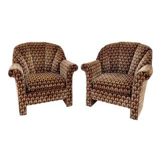 John Mascheroni for Swaim Velour Scalloped Barrel Back Chairs - a Pair For Sale