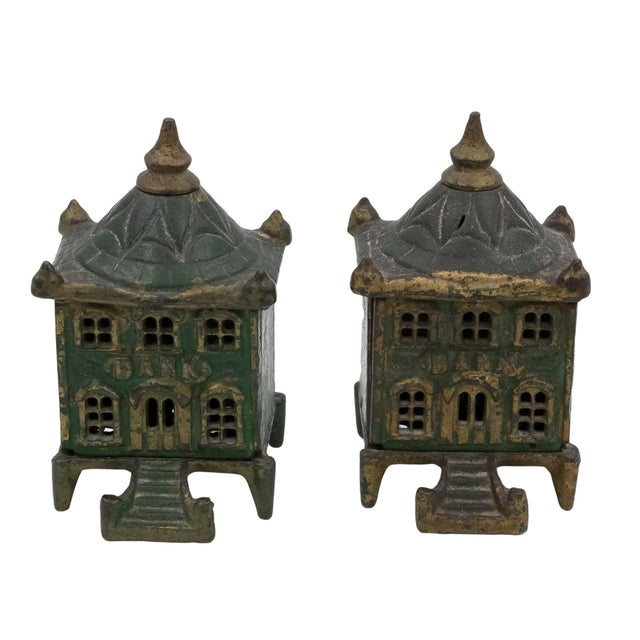 Late 19th Century Vintage English Victorian Cast Iron Architectural Still Banks C. 1880 - a Pair For Sale - Image 5 of 5