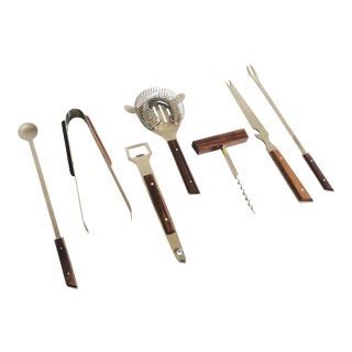 Mid Century Wood and Stainelss Steel Bar Tool Set - 7 Pieces For Sale
