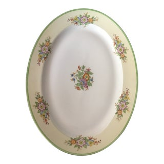 Vintage Made in Japan Large Platter Green Rim Flowers For Sale