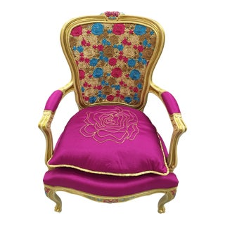 18th Century Pink Louis XV Armchair For Sale