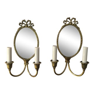 Mirror Back Sconces, a Pair For Sale