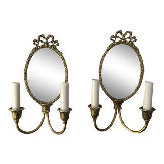 Mirror Back Sconces, a Pair For Sale