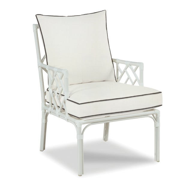Traditional Haven Outdoor Occasional Arm Chair, White and Coal For Sale - Image 3 of 3