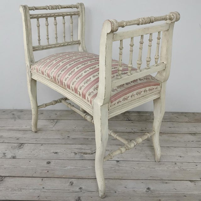 Louis XVI 19th Century French Painted Louis XVI Armbench ~ Banquette For Sale - Image 3 of 12