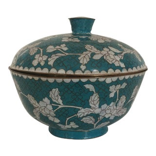 Vintage Turquoise Cloisonné Covered Dish For Sale
